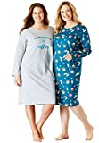 Dreams & Co. Women's Plus Size 2-Pack Knit Sleepshirts Deep Lagoon