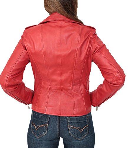 Cruzar Real Motocicleta Cuero del Cara Estilo Rojo Ajustada Biker Mujer Cremallera Chaqueta 8CqaWW