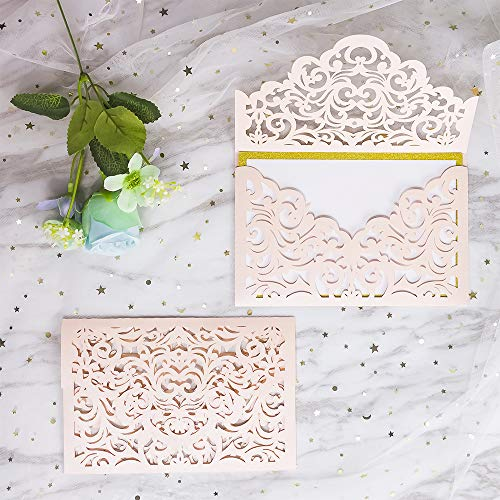 KAZIPA 25 PCs Laser Cut Wedding Invitations with envelopes, Blush Wedding Invitations Cards for Wedding Bridal Shower Engagement Graduation Invites