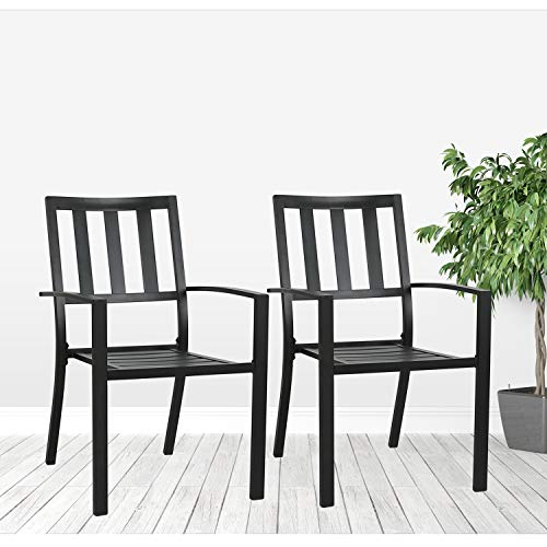 Ulax furniture Outdoor Patio Dining Arm Chairs Steel Slat Seat Stacking Garden Chair Set of 2 for Porch, Backyard For Sale