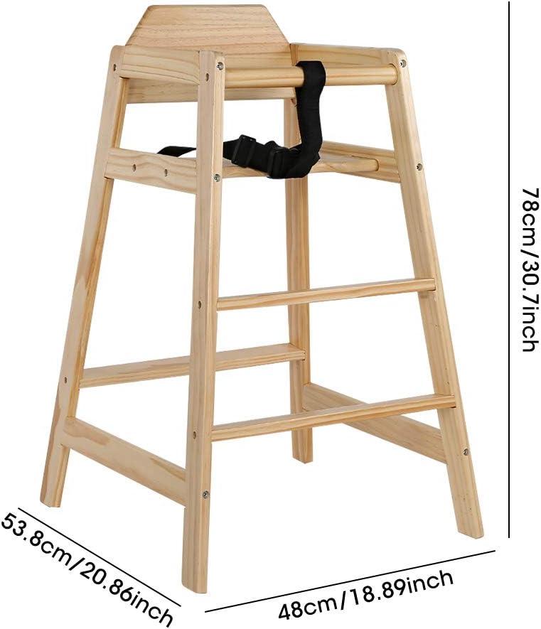 Holz Hochstuhl Treppenhochstuhl Kinderhochstuhl mit Sicherheitsgurt Kinderstuhl f/ür Babys ab 12 Monaten 53,8 lyrlody Babystuhl 78 cm 48