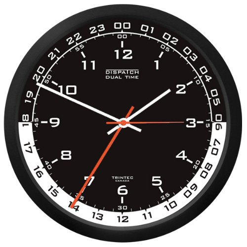 - Trintec 12 & 24 Hour Military Time Swl Zulu Time 24hr Wall Clock - Black Dial with White Moon DSP04