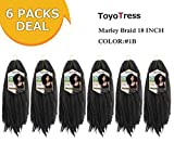 Toyo Tress Marley Hair For Twists 18 Inch 6packs Long Afro Marley Braid Hair 100% Kanekalon Synthetic Fiber Marley Braiding Hair Extensions (18', 1B)