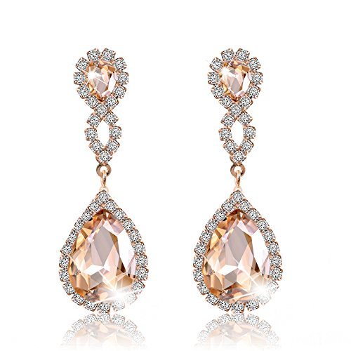Miraculous Garden Womens Rhinestone Crystal Pierced Drop Earrings for Wedding Party-2 Tone Plated (Gold Plated LIGHT Champagne Crystal)