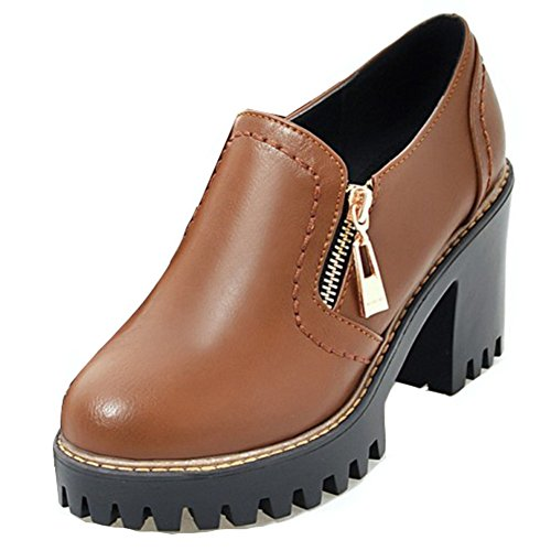 Up Block Low Dress Heels Top Thick Trendy Round High Aisun Platform Shoes Pumps Zip Toe Brown Womens Sole W4nqxBF