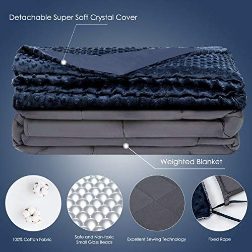 Cheap Giantex Premium Adult Weighted Blanket with Removable Duvet Cover 15 lbs | 48