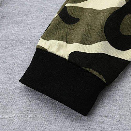 Neugeborenen Baby Jungen Bekleidung Set Longra Deer Langarm t-shirt Tops + Camouflage Hosen Hut 3 Stücke Kleidung Set Gray