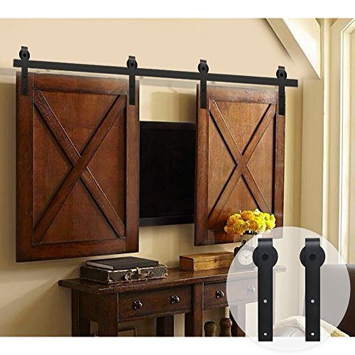 WINSOON 5FT Double Black Steel Bending Wheel Mini Sliding Barn Door Hardware for Cabinet TV Stand Set (Mini 5FT / Double - For Are Days What Fedex Business