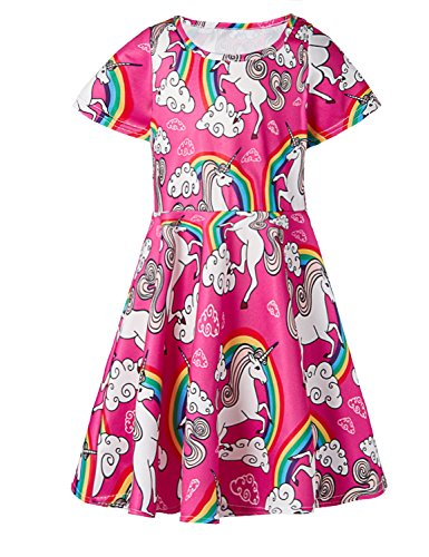 ALISISTER 6T Unicorn Dress Girls 90S Colorful Cloud Twirl Dress Up Short Sleeved Rainbow Sundress Kids Birthday Party Outfits Crew-Neck Playwear Red