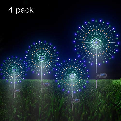 (Outdoor Solar Garden Decorative Lights- 105 LED Powered 35 Copper Wires String Landscape Light-DIY Flowers Fireworks Trees for Walkway Patio Lawn Backyard,Party Decor 4 Pack (Multi -Color))