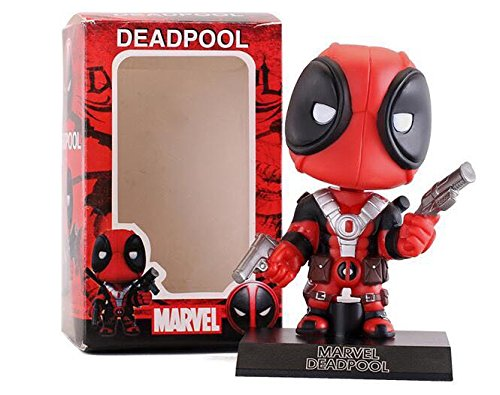 Trade-INK Deadpool Action Figure BobbleHead-Shaking Toy,Non-Toxic,5.3