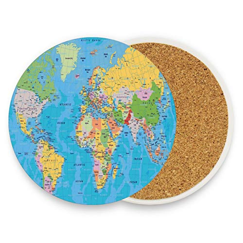 World Map Coasters, Prevent Furniture from Dirty and Scratched, Round Wood Coasters Set Suitable for Kinds of Mugs and Cups, Living Room Decorations Gift 1 ()