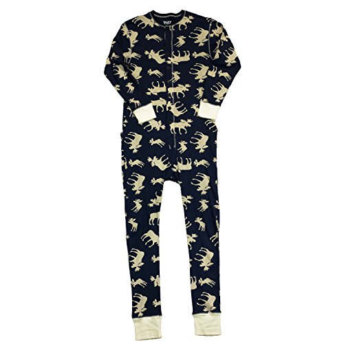 [Classic Moose-Moose Adult Flapjack Onesie Union Suit by Lazy One] (Onesie Suit)