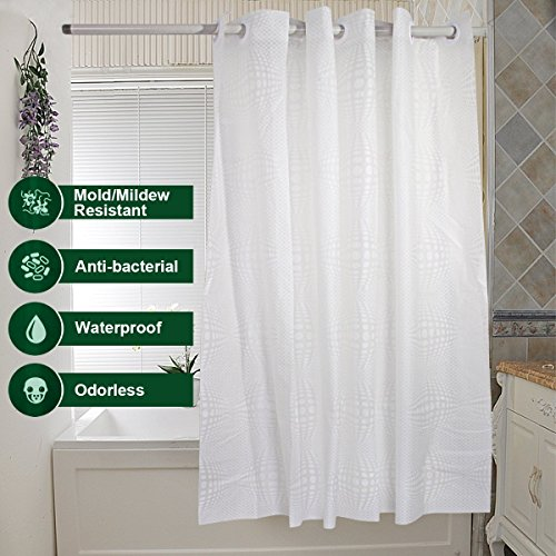 Shower Curtain Hookless, Water Repellent Shower Curtain Liner Mildew Resistant Washable PEVA Shower Stall Curtain with Shower Curtain Splash Clips for Bathroom Hotel Spa 72x74 inch by Goodears (Image #2)
