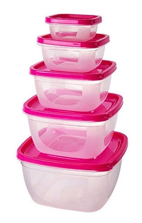 Elezay - Juego de 5 recipientes de plástico para alimentos ...