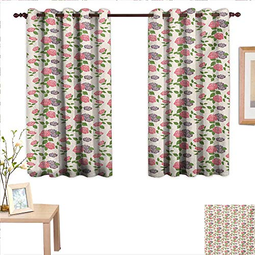 Block China Rose Garden (Floral Decor Curtains by Garden Flowers Roses Romantic Country Design with Leaves Art 63