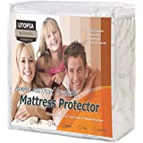Utopia Bedding Waterproof Bamboo Mattress Protector - Hypoallergenic fitted Mattress Cover - Breathable Cool Flow Technology - Vinyl Free (Queen)