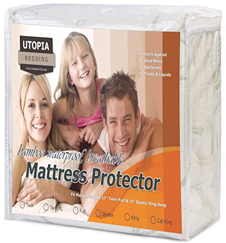 Utopia Bedding Waterproof Bamboo Mattress Protector - Hypoallergenic fitted Mattress Cover - Breathable Cool Flow concept - Vinyl Free (Queen) - by