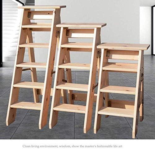 escabeau r/ésistant descalier pour la maison et la biblioth/èque JTD Tabourets descabeaux utilitaires familiaux /à la maison couleur en bois