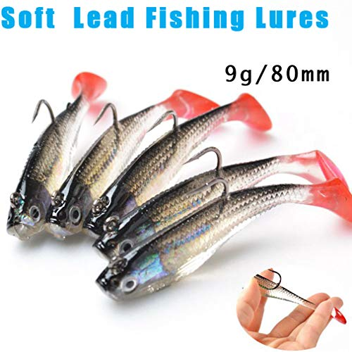 (Nafanio 5Pcs/Lot Fishing Lures 3D Eyes 80mm/9g Lead with T Tail Baits )