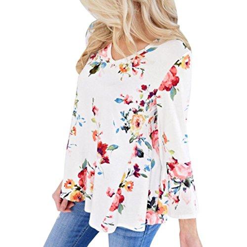 XS blusas extra brotes XXXXL mangas florales Blanco para mujer talla manga larga OverDose Fvq5Ewxp