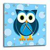 Cheap 3dRose Janna Salak Designs Cute Blue Owl on Light Blue Background Wall Clock, 10 by 10-Inch