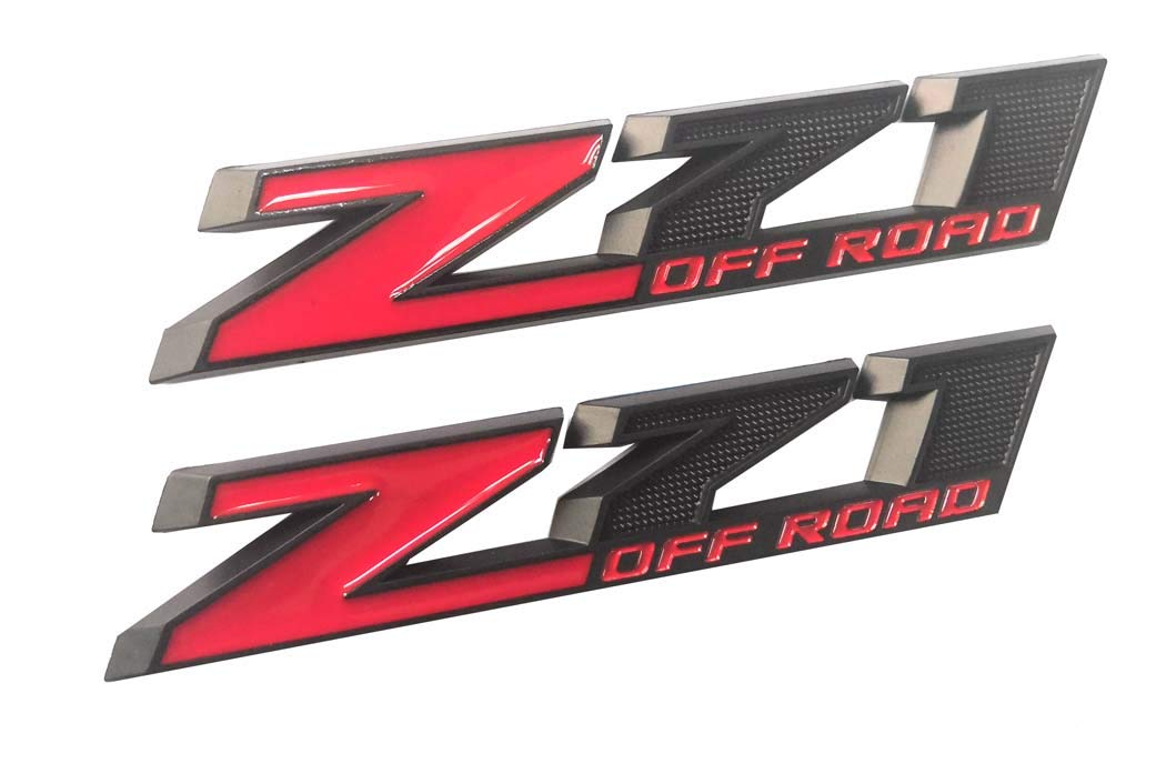 2pcs Z71 OFF Road Decals Emblems Badge 3D Replacement for GMC Chevy Silverado 1500 2500HD Sierra Suburban Colorado Black Red