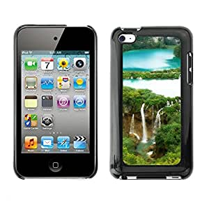Soft Silicone Rubber Case Hard Cover Protective Accessory Compatible with Apple IPod Touch 4 - Waterfall Forrest