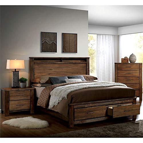 Furniture of America Nangetti Rustic 3 Piece Queen Bedroom Set in Oak (Bedroom Furniture Sets Queen Oak)