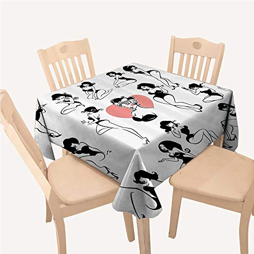 WilliamsDecor Girly Decor BBQ Tablecloth Famous Sexy Girl Model Posing with Full Body Features Heart Tattoo on Thigh Make Up PrintBlack White Square Tablecloth W54 xL54 inch