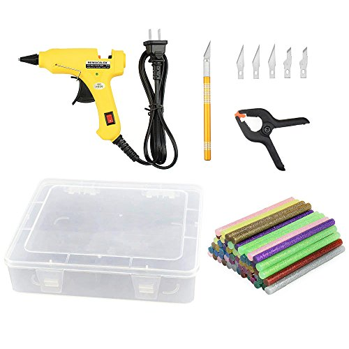 12 Color Glue Sticks 60 pcs 7mm Mini Hot Melt Glue Gun Hobby Knife Carving Graver Manual Tight Clips PP Storage Box Case Kit Set, 69pcs
