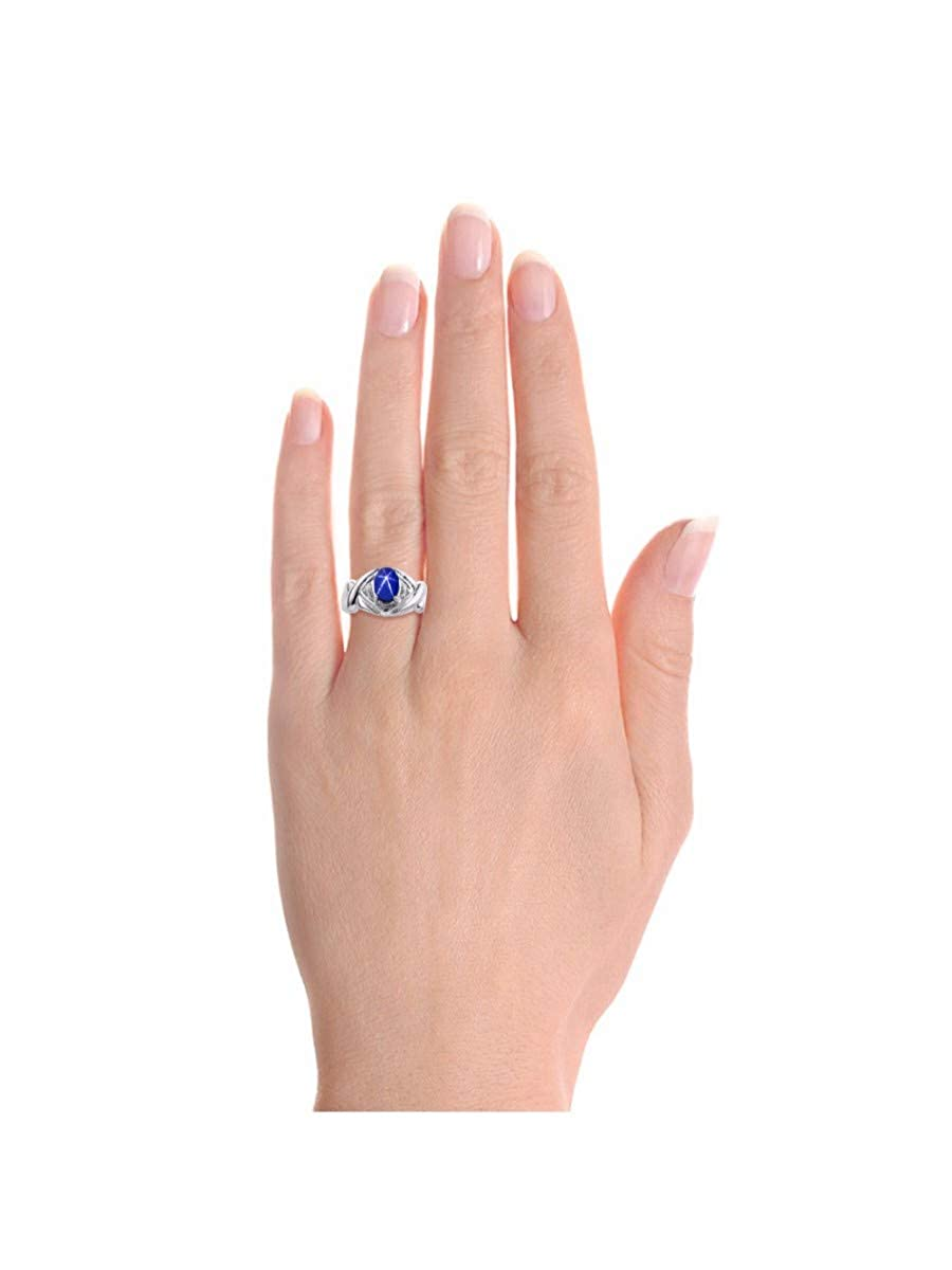 September Birthstone RYLOS Simply Elegant Beautiful Blue Star Sapphire /& Diamond Ring