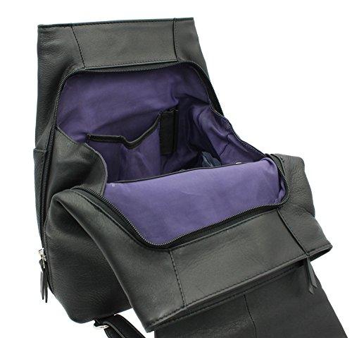Zainetto Leggero in Pelle con Impugnatura a Mano Ashlie Leather A4 AC8202 Nero