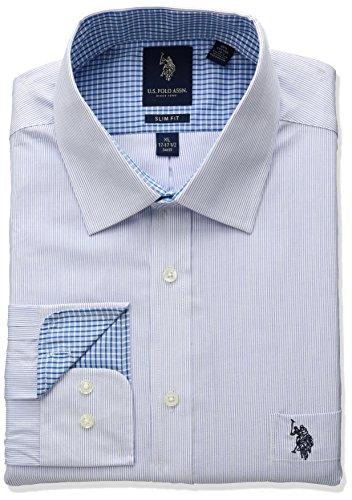 U.S. Polo Assn. Men's Slim Fit Striped Semi Spread Collar Dress Shirt, Fine Stripe Blue, 17