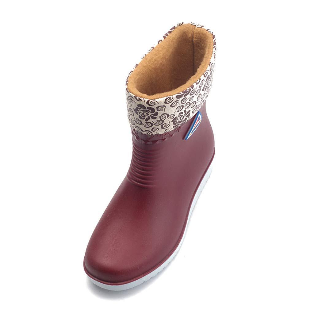 Women Fashion Wide Width Rain Boots Girls Lady Outdoor Non-Slip Rain Shoes Middle Tube Waterproof Boot