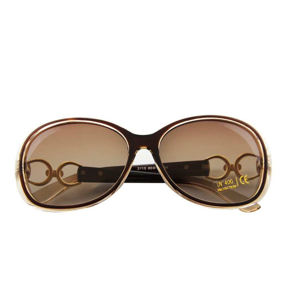 3e8cfbf3f50b0 VeBrellen Lujo transparente gafas de sol polarizadas Gafas retro Mujer de  los anteojos UV400 (Brown