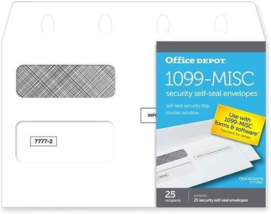 """Office Depot Brand 1099-MISC Double-Window 25 Recipient Security Self-Seal Envelopes, 5 5/8"""" x 9"""", White, Pack of 25 Envelopes"""