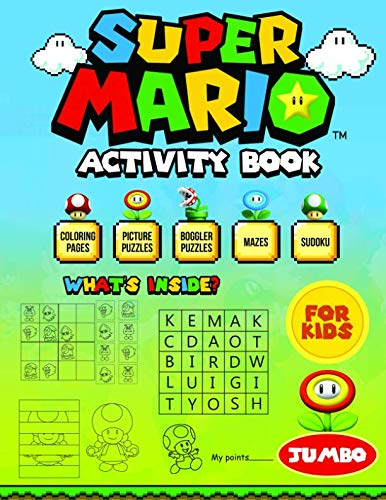 Price comparison product image Super Mario Activity Book For Kids: Coloring,  Picture,  Boggler Puzzles,  Mazes,  Sudoku - Easy And Fun Learning for Your Kids
