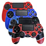 HDE PS4 Controller Skin 4 Pack Combo Silicone Rubber Protective Grip for Sony Playstation 4 Wireless Dualshock Game Controllers (Red, Deep Blue, Blue Black, Red Black Marble) from HDE