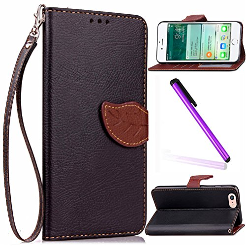 iPhone 5C Cover Case EMAXELER Stylish Wallet Case Embossing Kickstand Plant Leaf Credit Cards Slot Cash Pockets PU Leather Flip Wallet Case for iPhone 5C Leaf Black