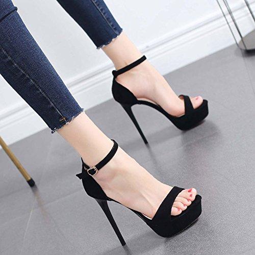 Zapatos de VIVIOO black de de Plataforma tacón alto de de alto de impermeable alto Palabra alto tacón tacón Zapatos Sandalias Zapatos Sandalias verano de Zapatos hebilla tacón tacón alto salvajes FdCqdrw