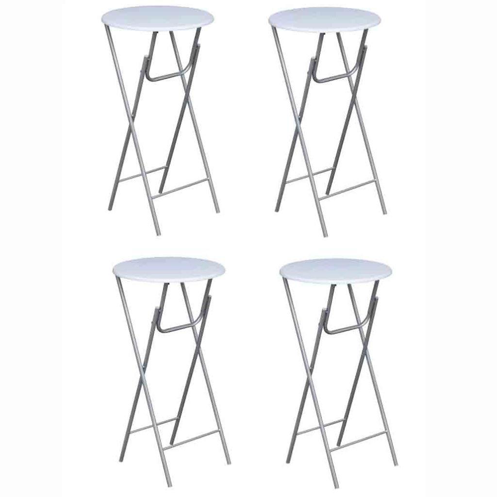 Lot de 4 tables de bistro bar mange debout ronde haute MDF bois blanche pliable