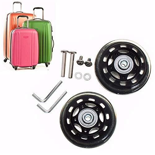 Replacement Luggage Wheels 67x20mm Rubber Suitcase Trolley Wheels Axles Deluxe Repair OD 67mm Repair Travel Trolley Case Wheels ()