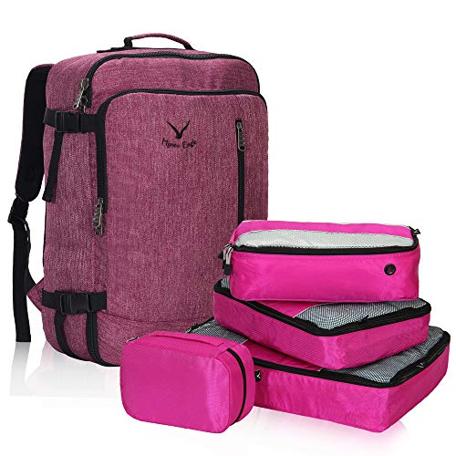 Hynes Eagle 38L Flight Approved Weekender Carry on Backpack Red Violet with Fuchsia 4PCS Packing Cubes 2018 (Best Travel Luggage Backpack)