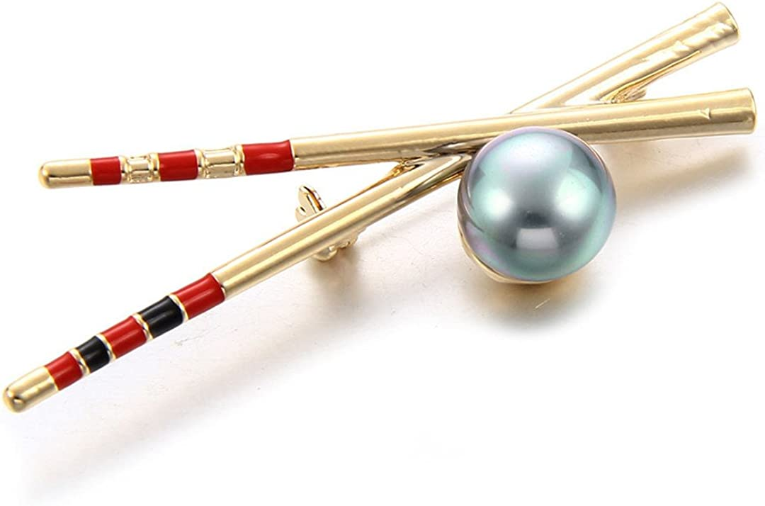 MLXZ Ethnic Chopsticks Brooch Pin Gold-Color Imitation Pearl Corsage Pin Jewelry Women Girls Clothes Bags Clips Brooches