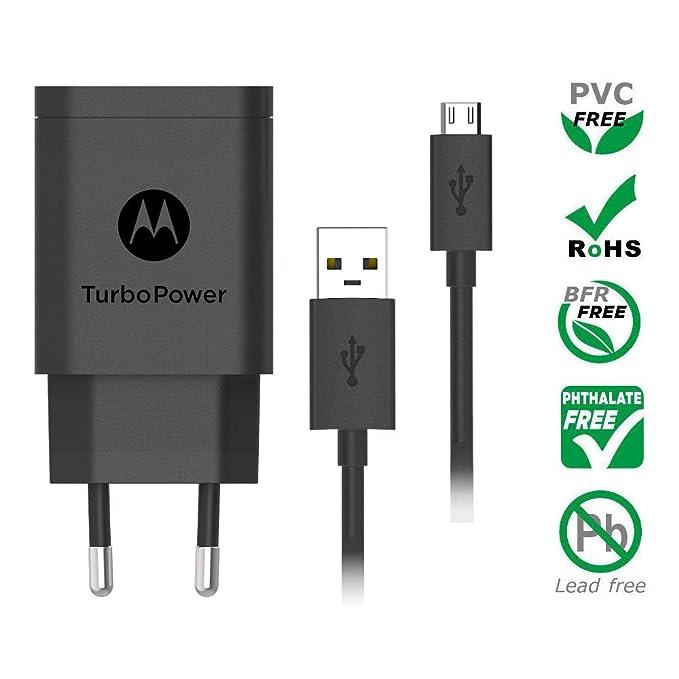 Motorola SC52 TurboPower 18 QC3.0 Cargador de Pared con SKN6461A Cable Micro USB para Moto G5 Plus, G5S, G5S Plus, E5 Plus, G6 Play [No para G6 o G6 Plus] ...