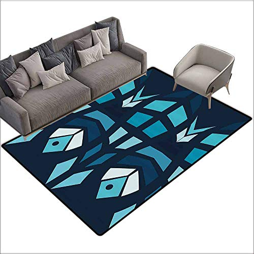 Floor Mat Entrance Doormat Mosaic,Ceramic Style Fractal Fish Icon in Depth Aquarium Sea Illustration,Sky and Dark Blue Navy White 48