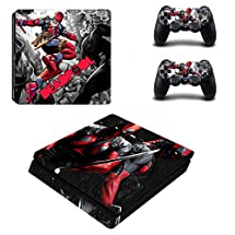Adventure Games - PS4 SLIM - Deadpool - Playstation 4 Vinyl Console Skin Decal Sticker + 2 Controller Skins Set