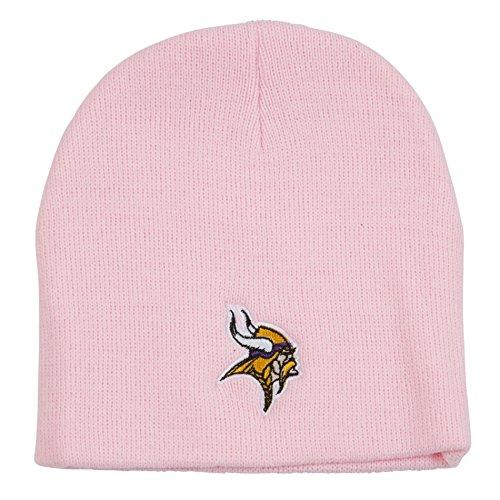Minnesota Vikings Pink Skull Cap - NFL Cuffless Winter Knit Toque Beanie Hat