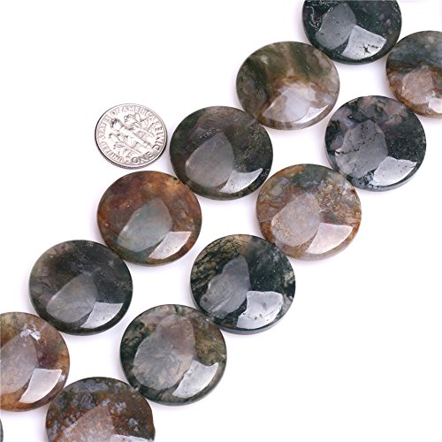 Natural Coin Indian Agate Gemstone DIY Jewelry Making Beads Gemstone Strand 15